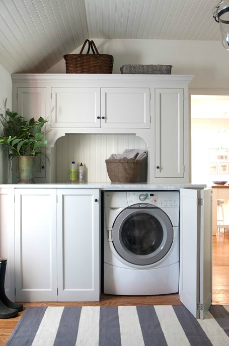 Hidden washer and dryer cottage laundry room sage design - Laundry rooms for small spaces decoration ...