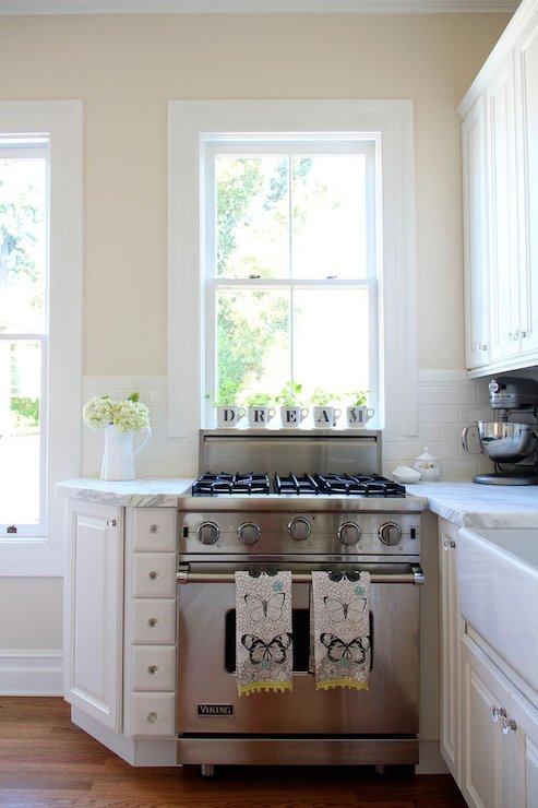Stove under window transitional kitchen valspar for Kitchen colors with white cabinets with monogram stickers for cups