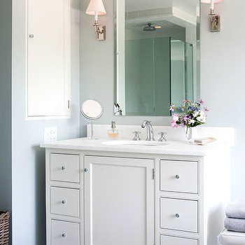 Gray Bathroom Vanity With Black Bamboo Mirror