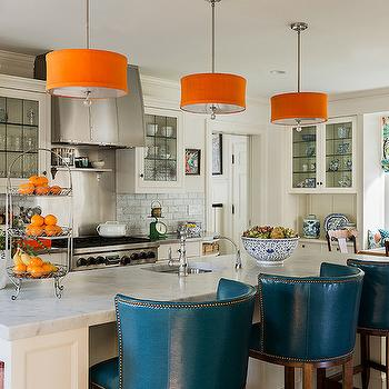 Peacock Blue Barstools, Contemporary, kitchen, Katie Rosenfeld Design