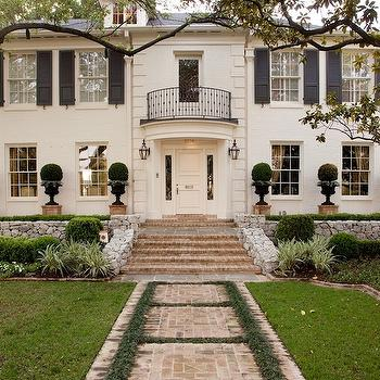 White Brick Home, Traditional, home exterior, Jan Showers