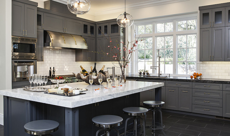Gray Kitchen Cabinets With Granite Countertops leathered granite countertops - contemporary - kitchen - jules art