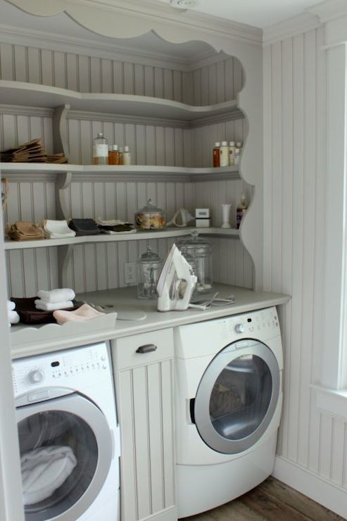 Shelves over washer and dryer vintage laundry room for Laundry room shelving