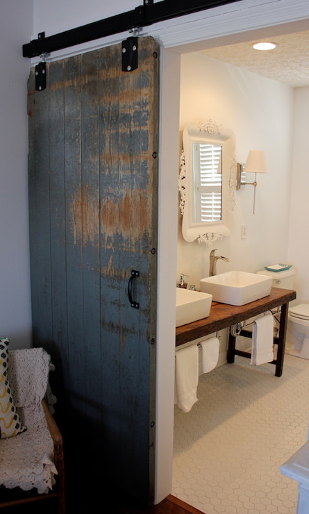 Bathroom barn door eclectic bathroom Bath barn