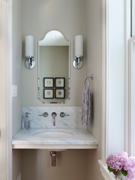 Floating Marble Vanity Transitional Bathroom