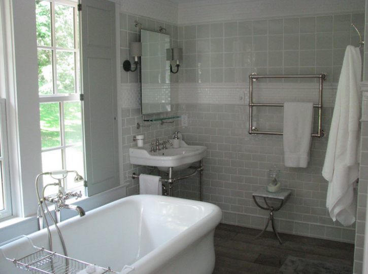 White And Grey Bathroom Transitional Bathroom Talk Of The House