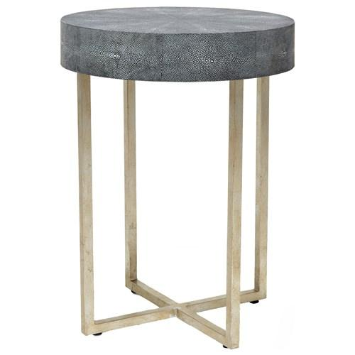 Avalon Shagreen Round Metal Base Side Table