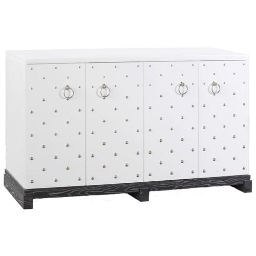 bungalow 5 barcelona large white nailhead accents cabinet bungalow 5 white lacquered