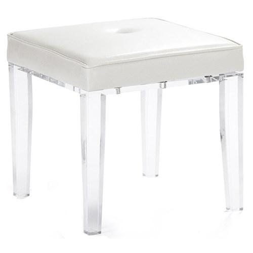 Zentique White Leather Seat Acrylic Stool