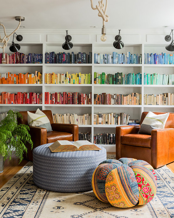 Books Arranged by Color - Transitional - den/library/office - Hudson ...