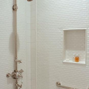 Mini Beveled Subway Tiles, Cottage, bathroom, Talk of The House