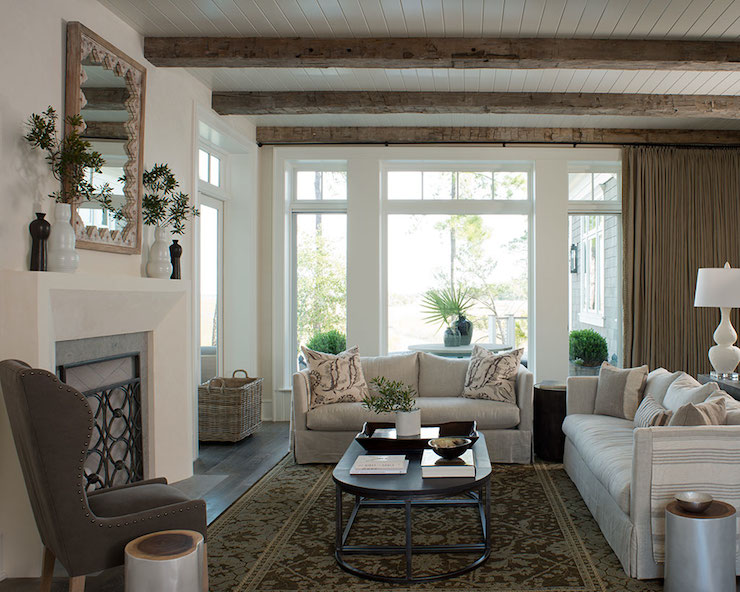 Living Room Beadboard Ceiling Transitional Living Room