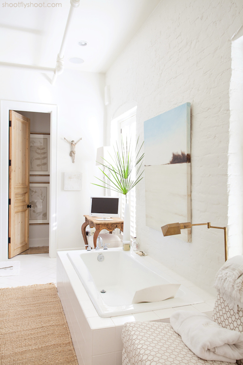 White Brick Wall Country Bathroom Atchison Home