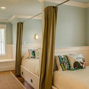Green Curtains, Cottage, boy's room, Wayne Windham Architect