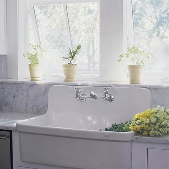 Vintage Sink With Built In Backsplash Design Ideas
