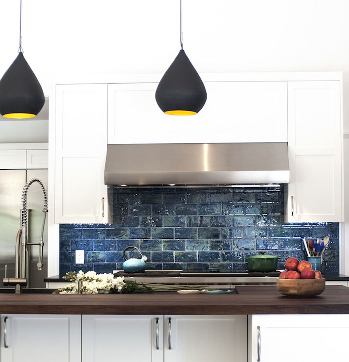 Blue Subway Tiles - Contemporary - kitchen - Smith River
