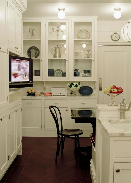 kitchen with recessed flat panel tv transitional kitchen. Black Bedroom Furniture Sets. Home Design Ideas