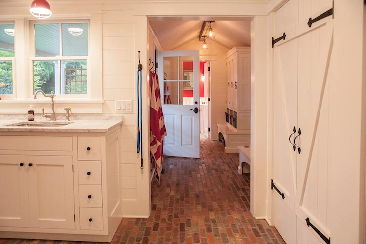 Red Brick Floor Cottage Laundry Room Smith River