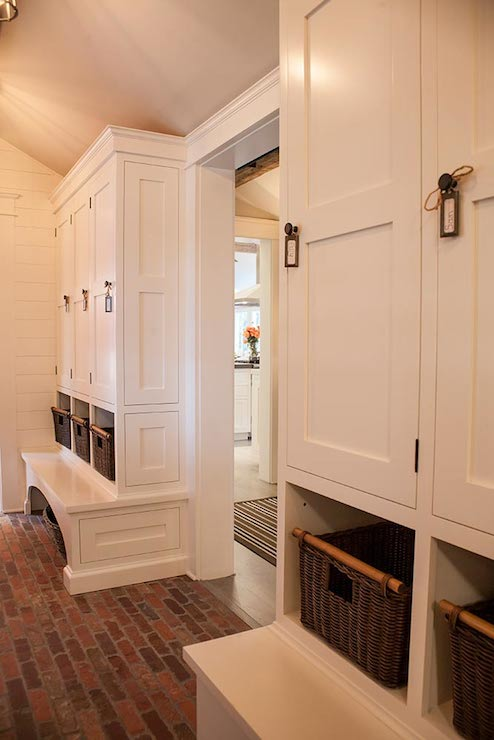 Red brick floor cottage laundry room smith river for Mudroom floor