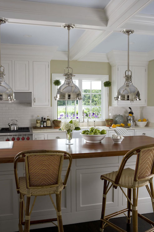 Painted Coffered Ceiling - Cottage - kitchen - Smith River ...