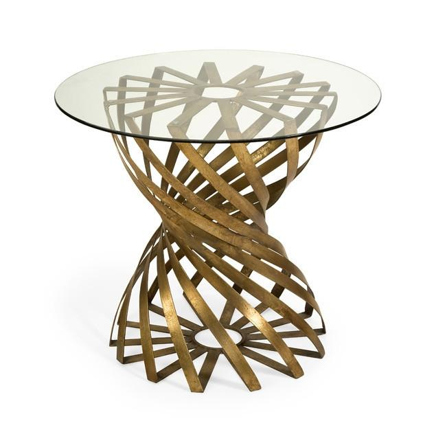 Jules Round Rippled Gold Tripod Table Set