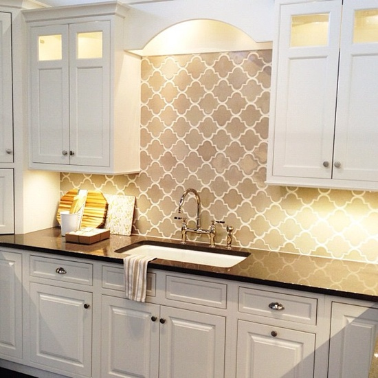 Gray arabesque tiles contemporary kitchen for Arabesque tile backsplash