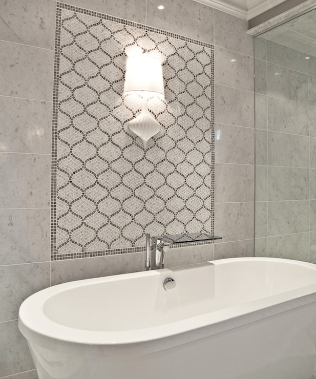 Marble Arabesque Backsplash Contemporary Bathroom