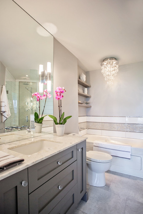 Bathroom Mirrors Over Vanity grey vanity - contemporary - bathroom - madison taylor design