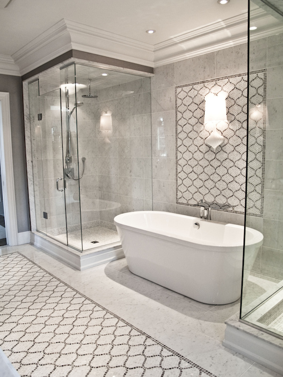 Arabesque Tile Shower Contemporary Bathroom Artistic Designs For Living