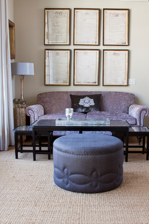 Purple Sofa Transitional Living Room Annette Tatum