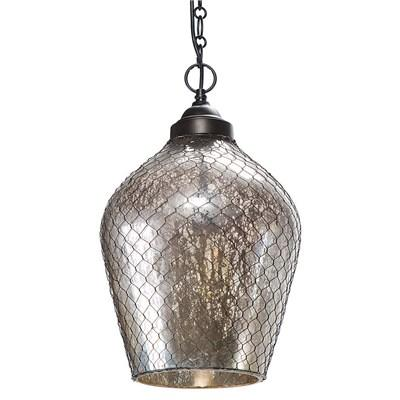 Regina Andrew Lighting Silver Glass and Wire Cage Pendant