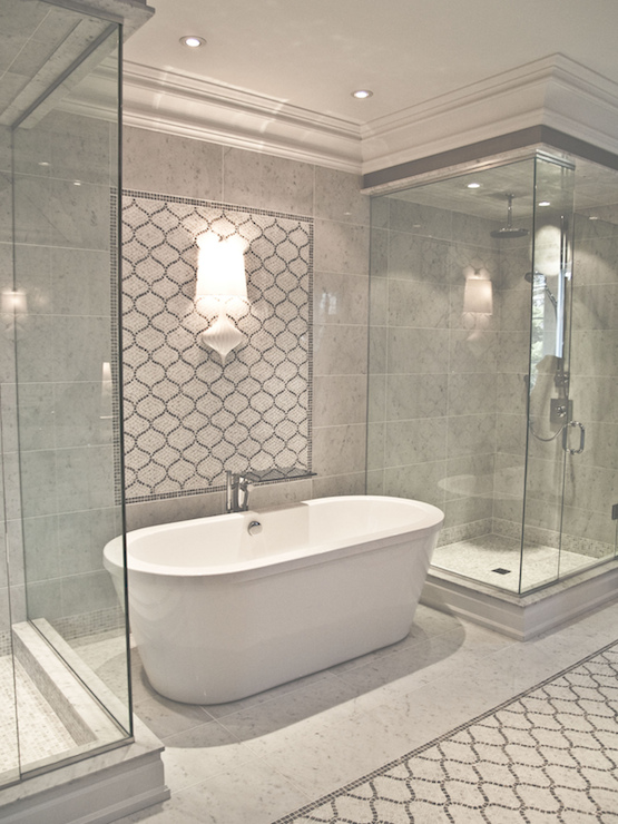 Arabesque Tile Shower Contemporary Bathroom Artistic