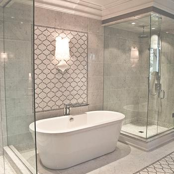 Marble Arabesque Tiles Contemporary Bathroom Terra Verre
