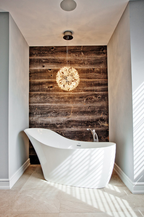Genial Fantastic Bathtub Nook Features Crystal Flower Light Pendant Over Modern  Freestanding Bathtub Paired With Floor Mounted Tub Filler Placed In Front  Of Rustic ...