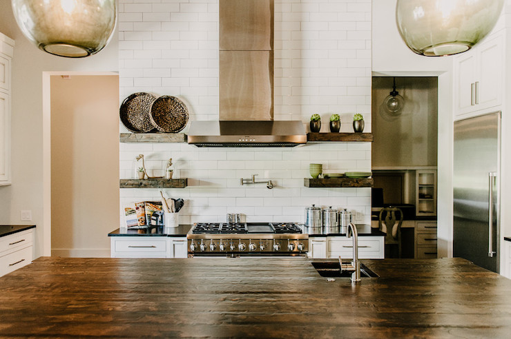 Reclaimed Wood Countertop view full size - Salvaged Wood Kitchen Shelves Design Ideas