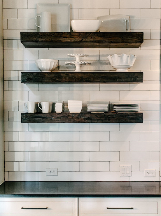 Chunky Floating Shelves Transitional Kitchen Van