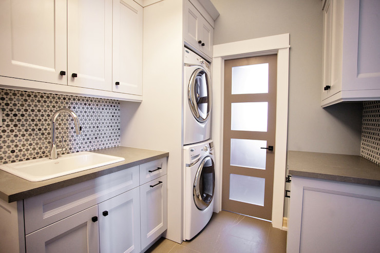 Stacked washer and dryer contemporary laundry room - Utility rooms in small spaces gallery ...