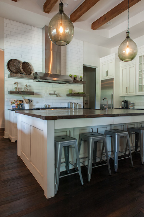 Reclaimed Wood Kitchen Island With Concrete Countertop