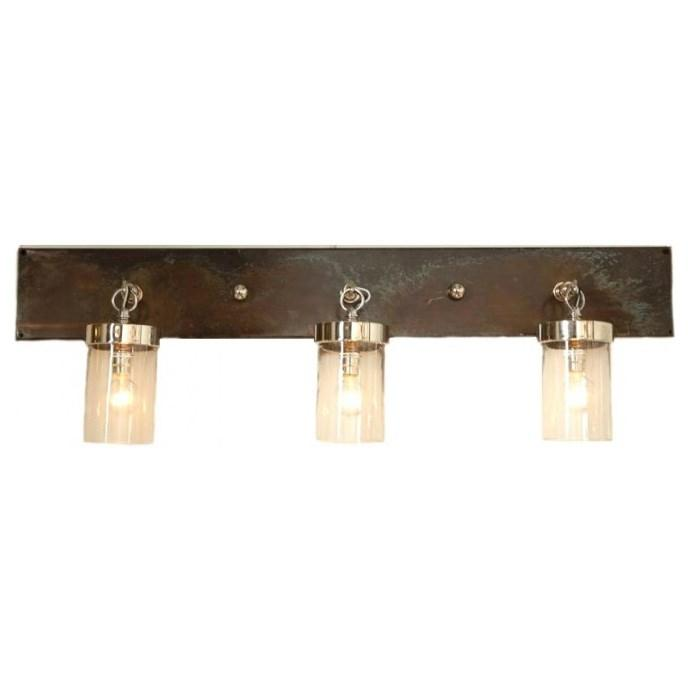 Bronze Vanity Lights With Clear Glass : Bronze Frame Three Glass Shade Vanity Light