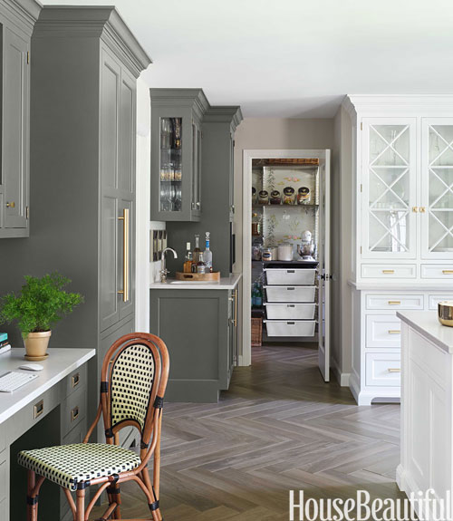 Gray kitchen cabinets transitional kitchen benjamin for House beautiful kitchens