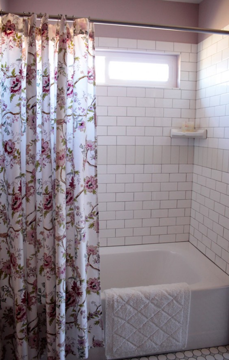 View Full Size Sweet Bathroom Features Drop In Bathtub With Subway Tiled Shower Surround