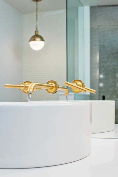 Brushed gold faucet contemporary bathroom madison for Brushed gold bathroom accessories