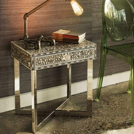 Grey Pondicherry Mother Of Pearl Side Table
