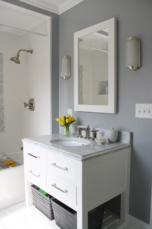 White Lacquered Mirror Contemporary Bathroom