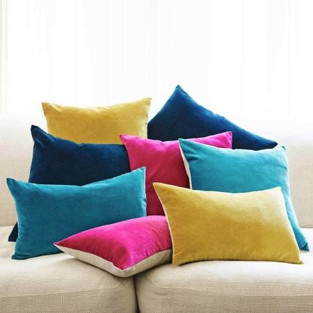 Assorted Colors Velvet And Linen Backed Rectangle Cushions