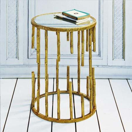 Exceptional Mirrored Top Gold Bamboo Side Table