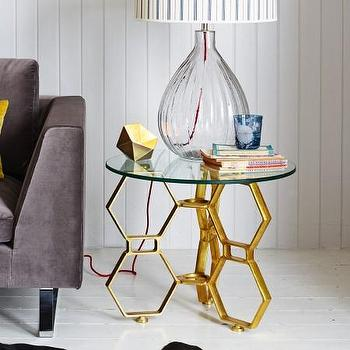 Threshold Gold Round Metal Honeycomb Accent Table