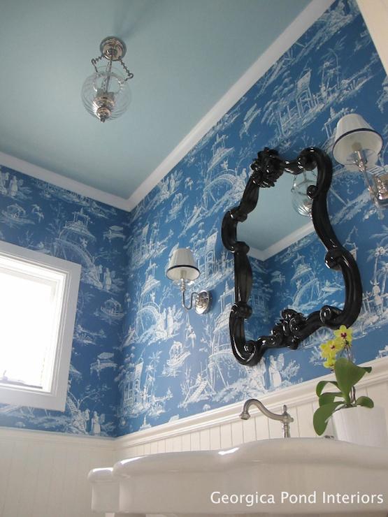 Blue toile wallpaper transitional bathroom georgica for Blue bathroom wallpaper