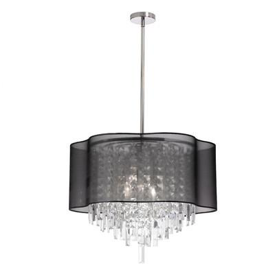 dainolite 6 light crystal transparent black drum pendant chandeliers pendants wayfair drum lighting