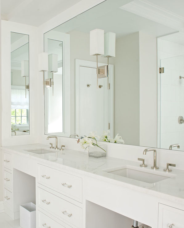 Lucite Hardware Transitional Bathroom Laura Tutun Interiors - Sconces mounted on bathroom mirror
